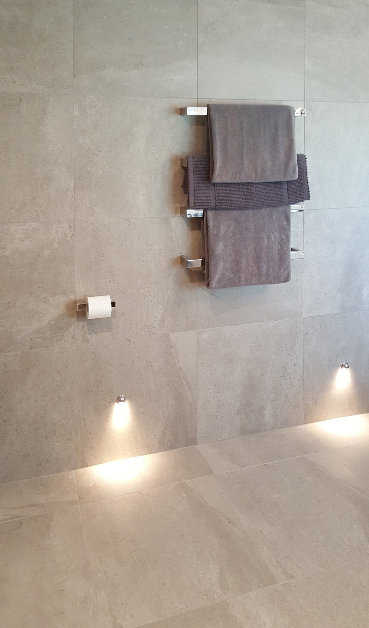 Features of this bathroom include individual DC Short floor, flooring, lighting, plumbing fixture, tap, tile, wall, gray