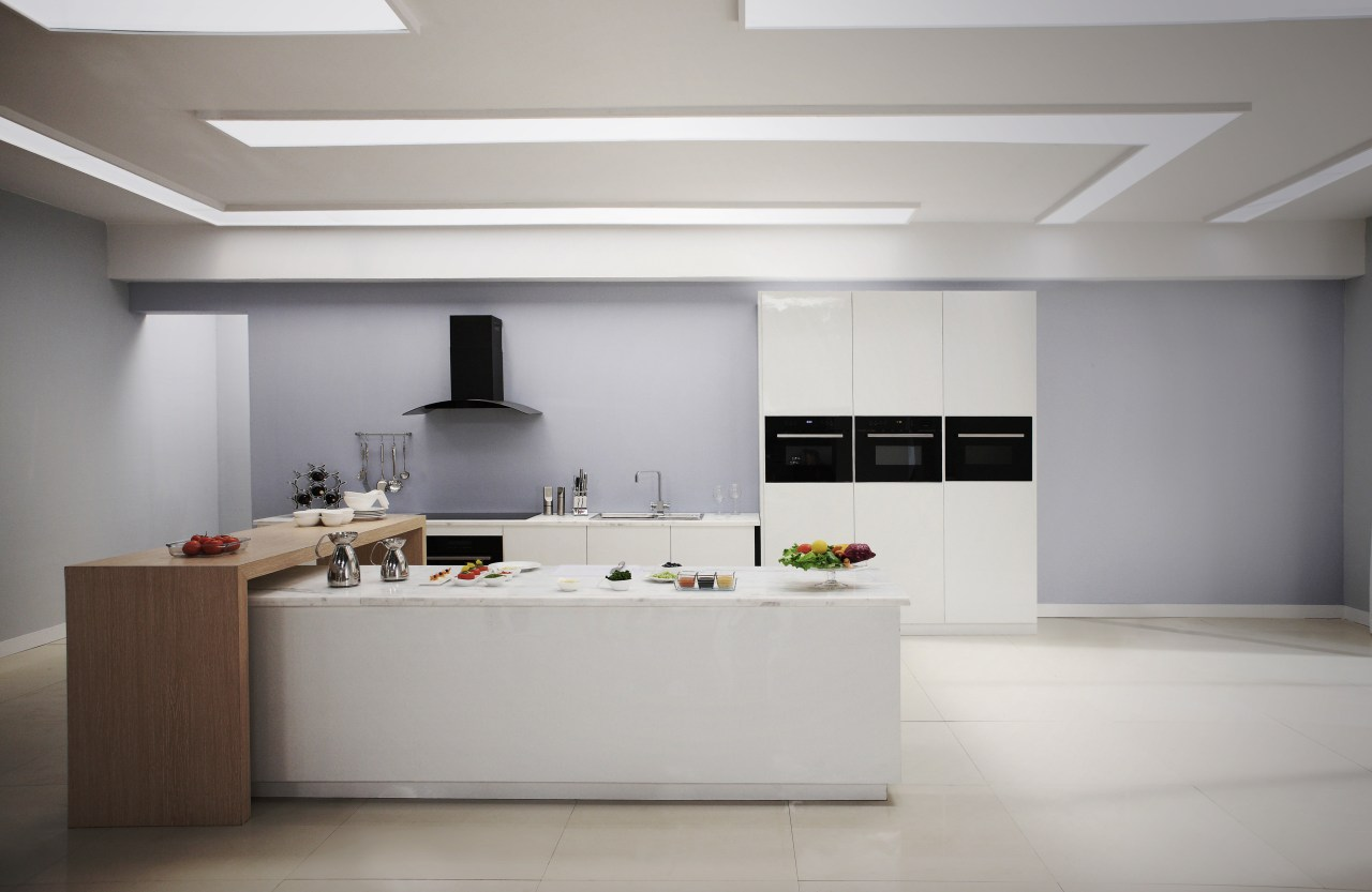 Midea appliances are strong on both looks and ceiling, interior design, kitchen, product design, gray