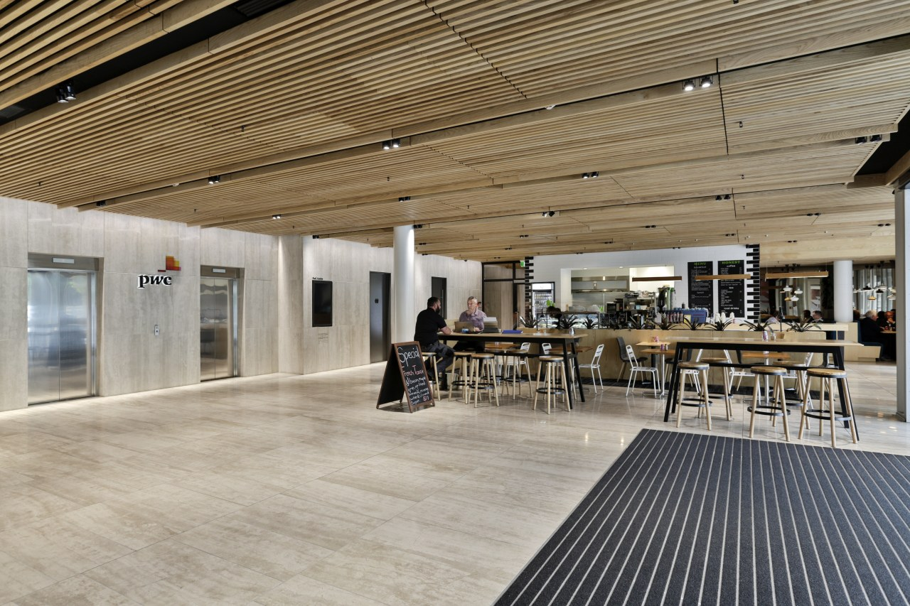 A timber batten ceiling above and matching area architecture, ceiling, floor, flooring, interior design, lobby, gray, brown