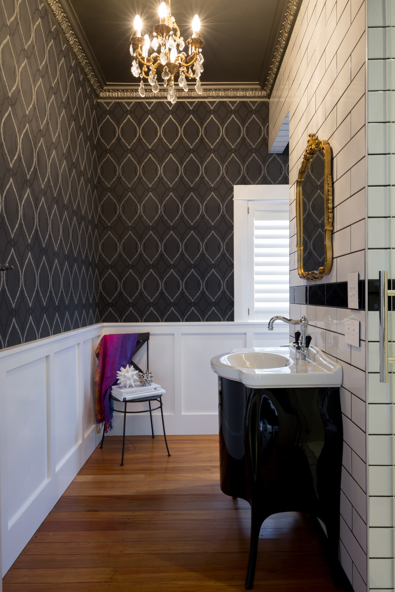 A powder room suited to the classic home bathroom, ceiling, floor, flooring, home, interior design, room, tile, wall, wood flooring, black, gray