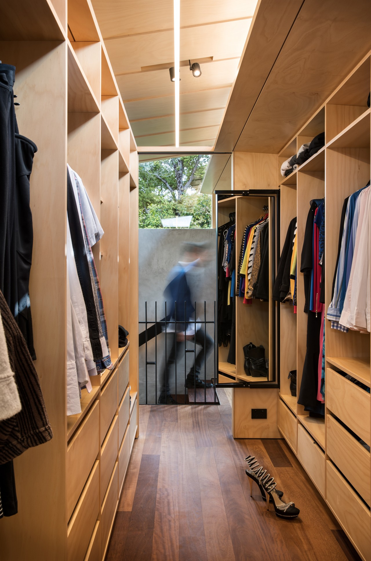 Master wardrobe – master suite designed by Strachan boutique, ceiling, closet, floor, flooring, furniture, interior design, room, wardrobe, wood, brown