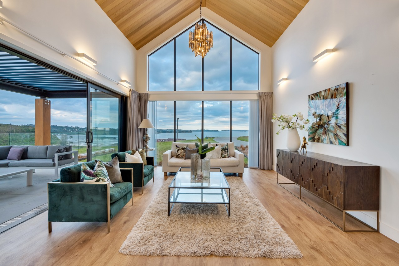 Soaring cathedral ceilings in the main living space