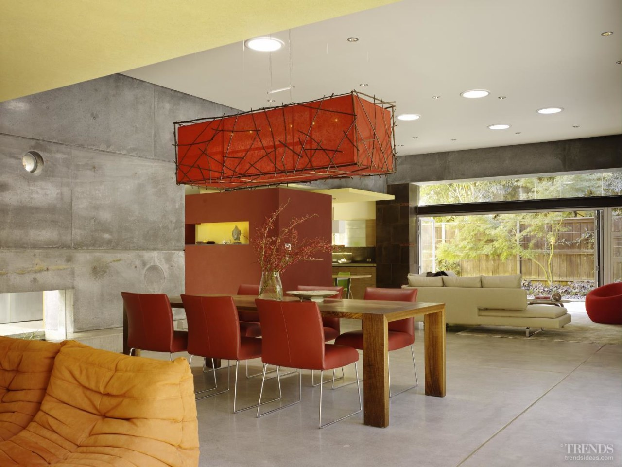 Solar tubes positioned at irregular intervals in the architecture, ceiling, floor, interior design, kitchen, living room, lobby, loft, table, wall, gray