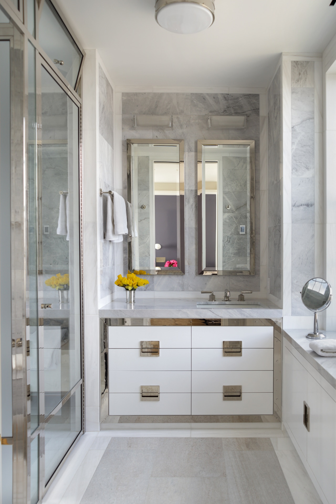 The master bath is a modern-abstracted take on