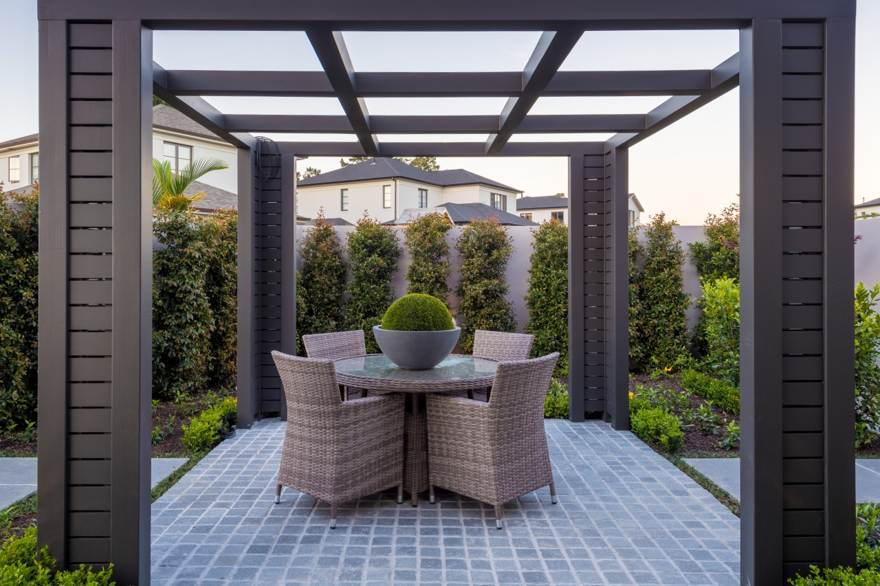 Another outdoor escape, this pergola setting is to