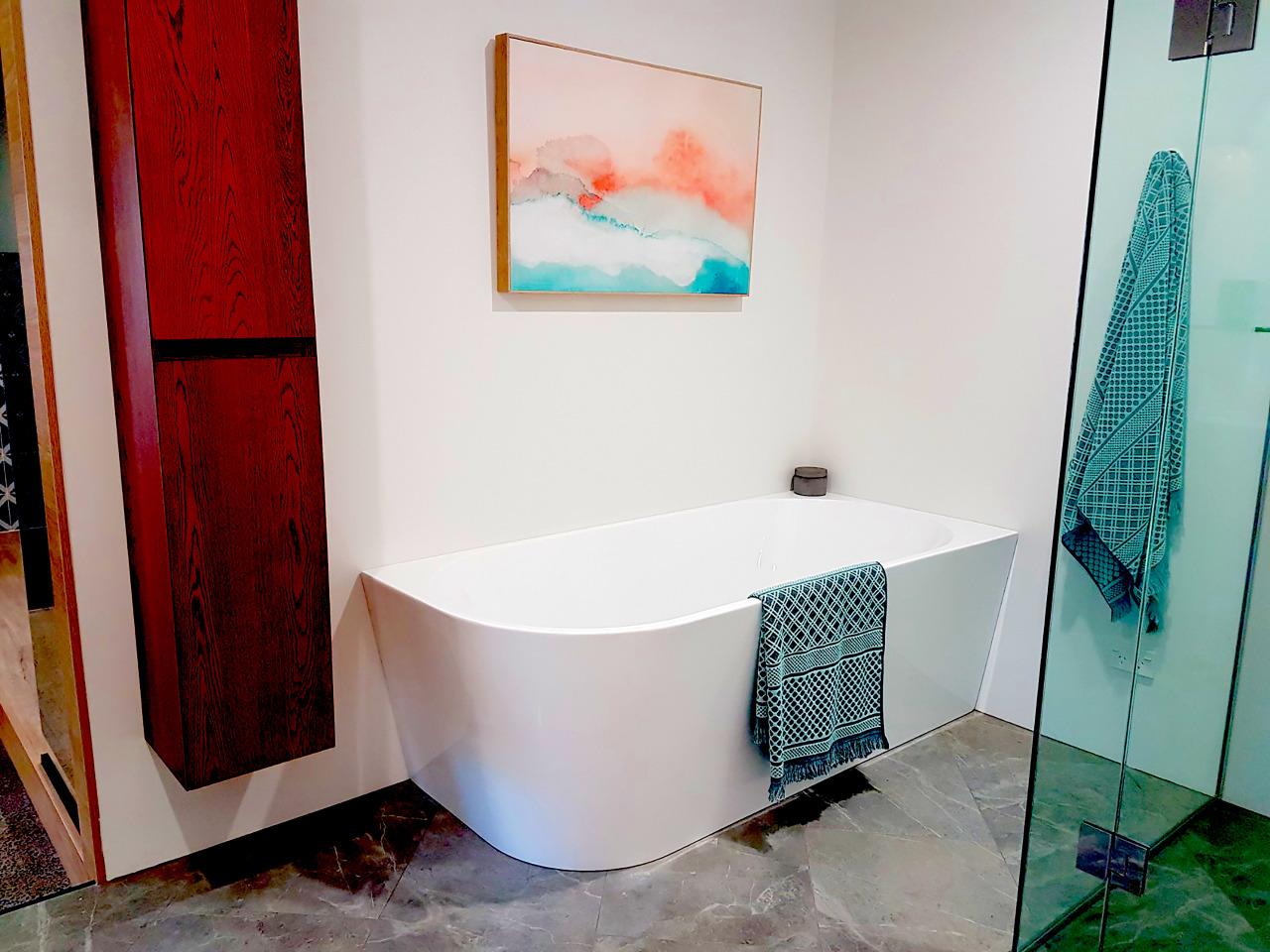 Corner bath tub as seen by Newtech Bathroomware bathroom, floor, flooring, interior design, plumbing fixture, property, room, tile, white
