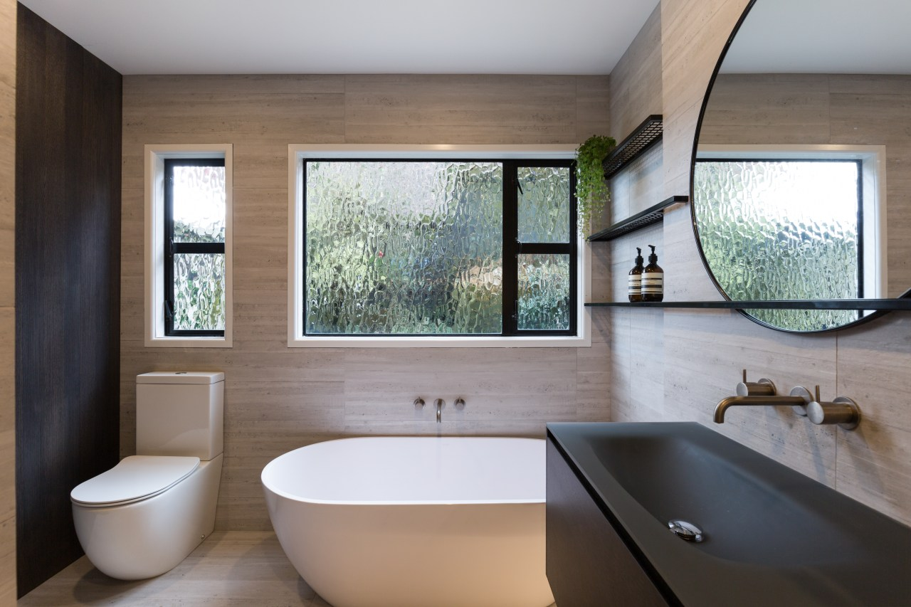The owner wanted something different and to incorporate architecture, bathroom, estate, home, interior design, room, window, gray