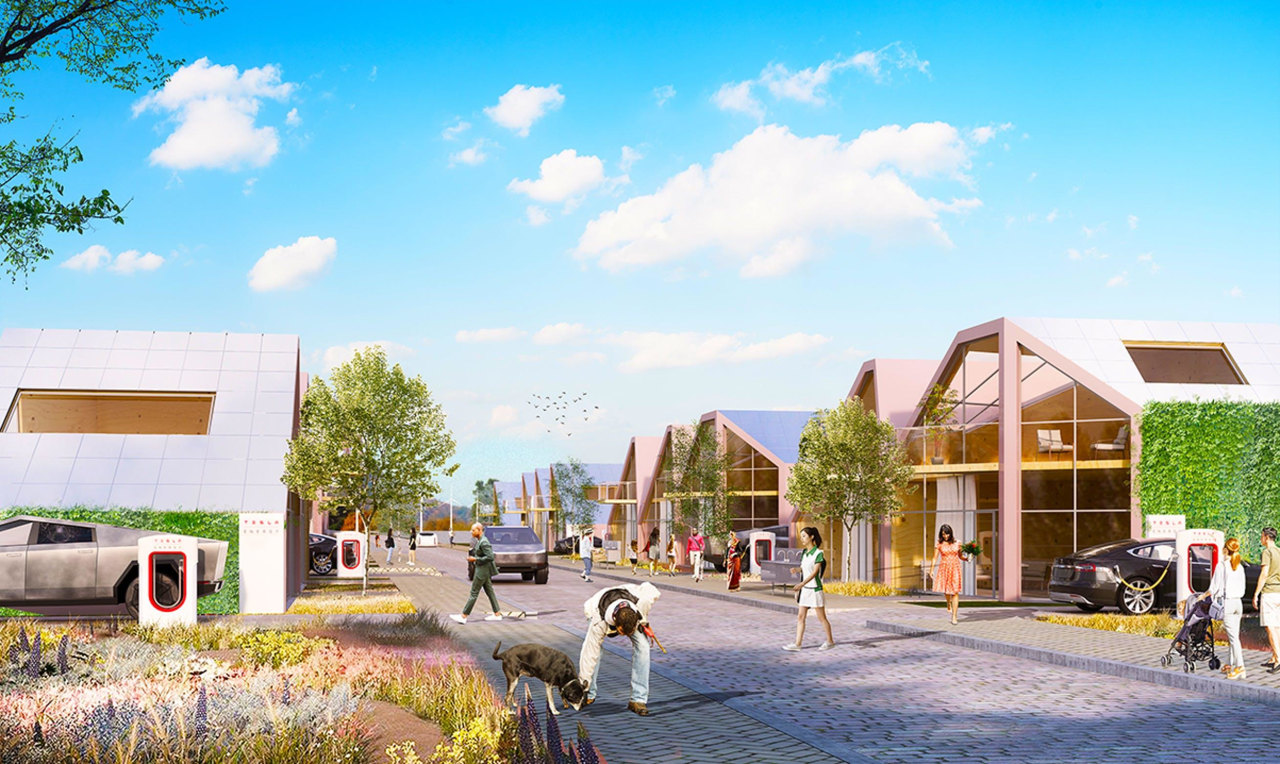 Eco-friendly, attractive, and extremely functional, the Tesla town
