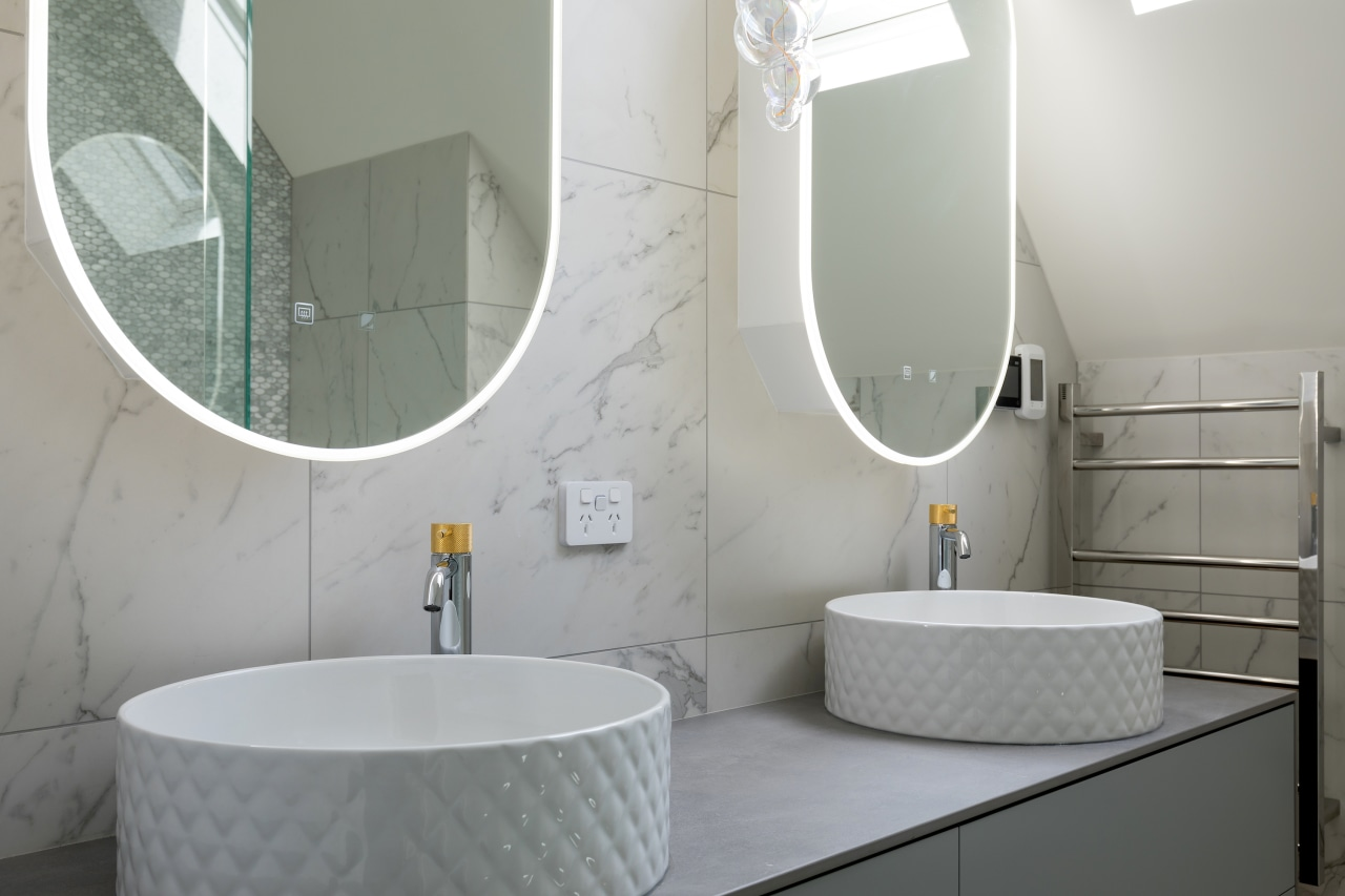 The vanity top bowls bring texture into the