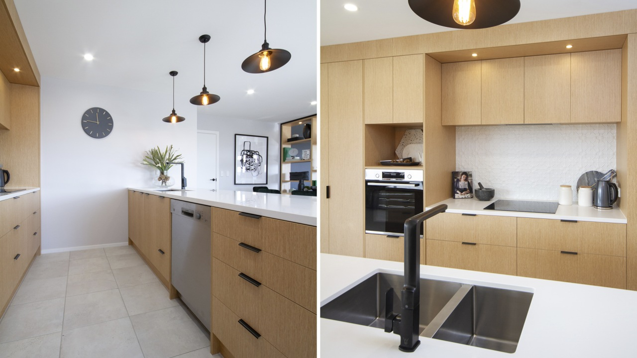 The showhome's well-appointed kitchen features natural-look cabinetry, the