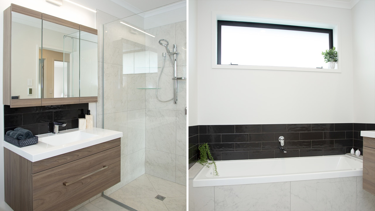 The family bathroom is light-filled and modern and
