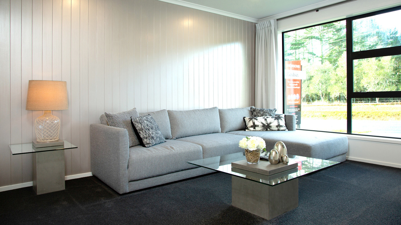 The formal living/media room offers a completely different