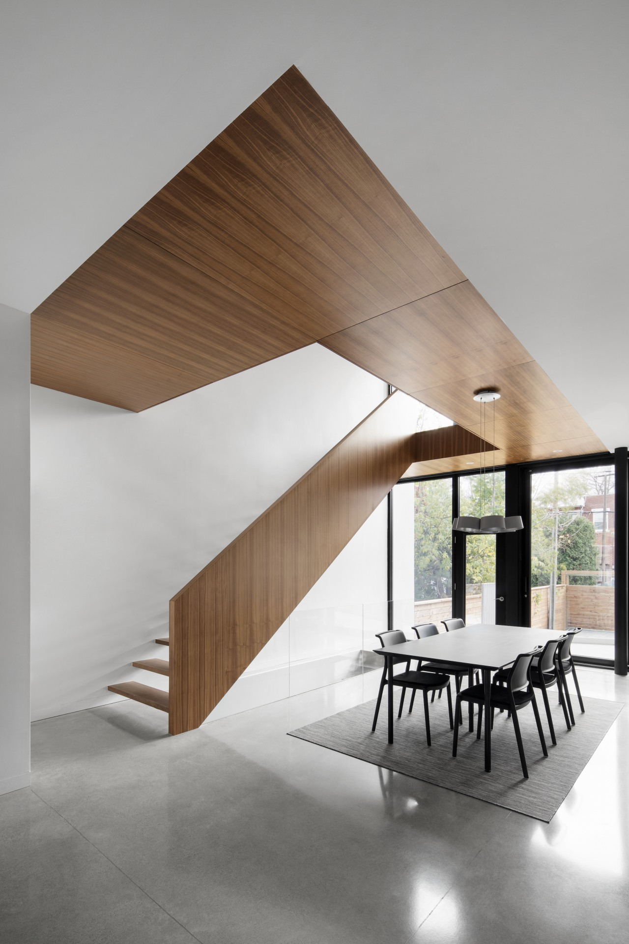 The timber step, riserless staircase is nothing short
