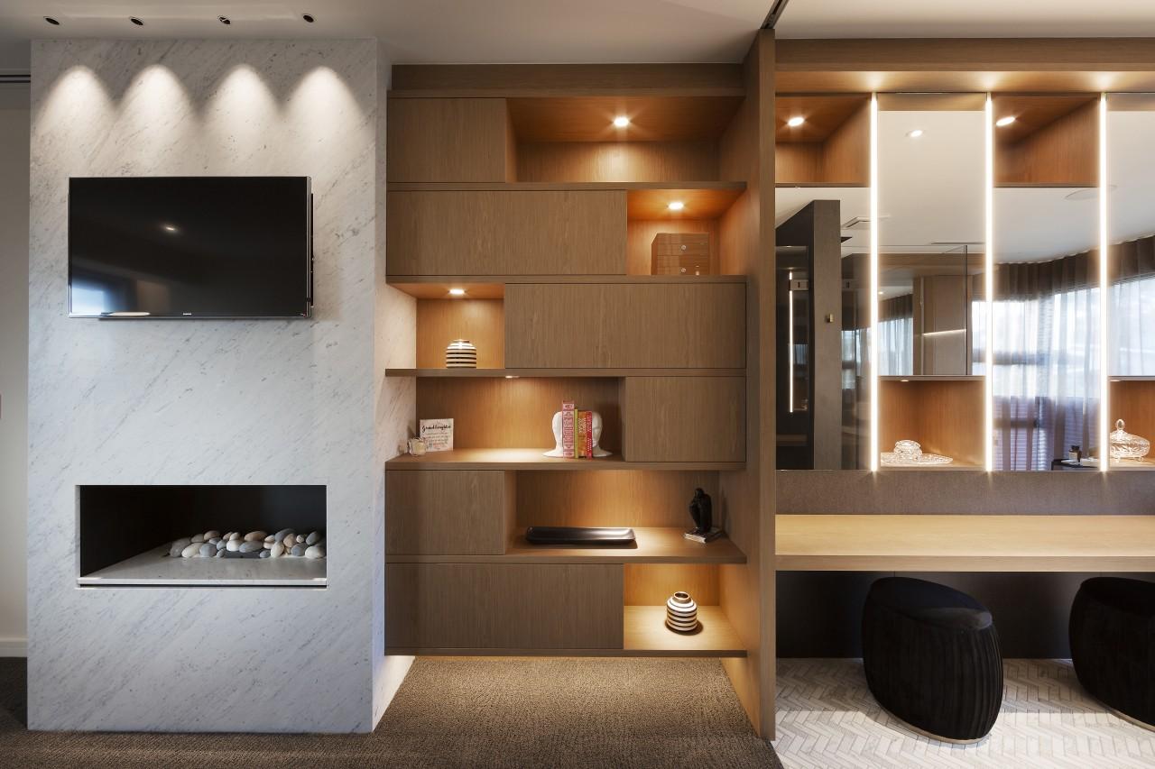 Master suite – engineered steel frames were designed