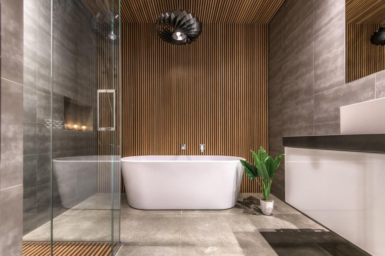 Photography by: Anthony Turnham architecture, bathroom, floor, flooring, interior design, lobby, plumbing fixture, room, tile, gray