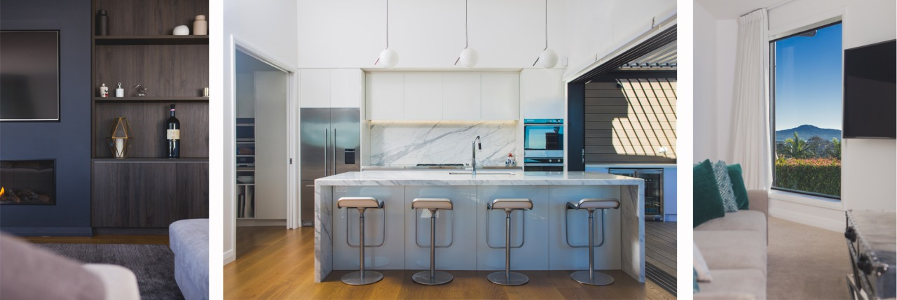 The kitchen, living and outdoor area form the