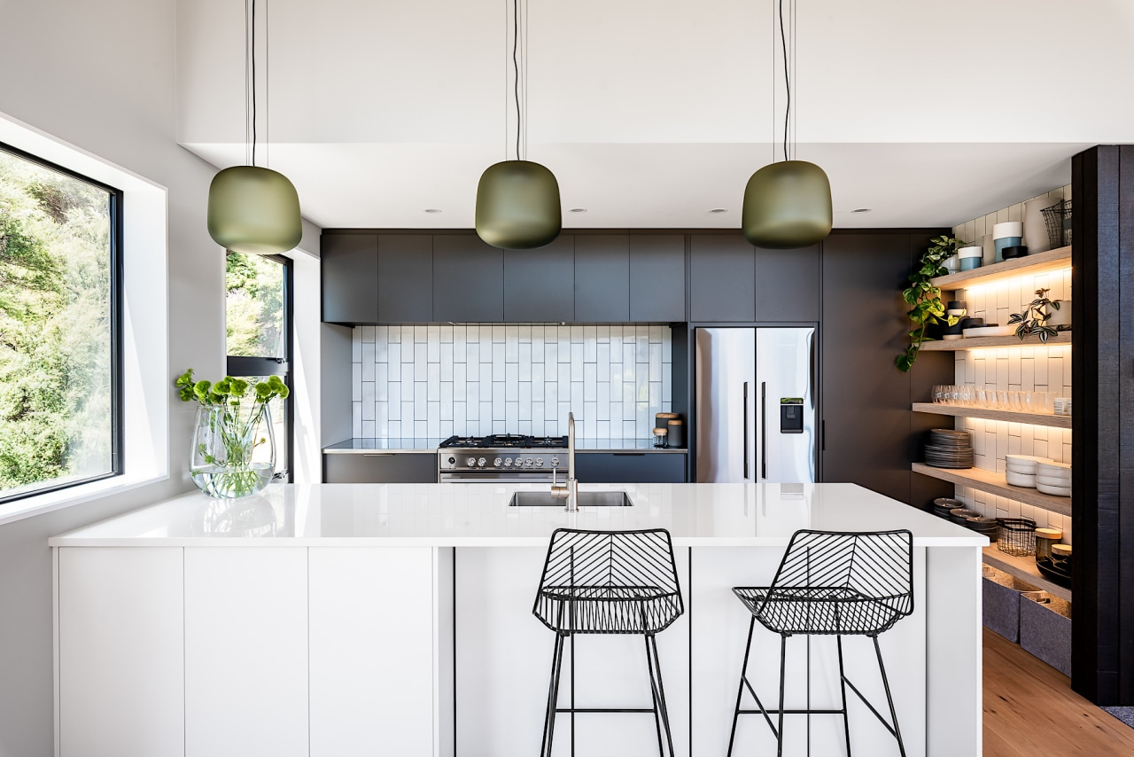 Black, white and served by large open shelving