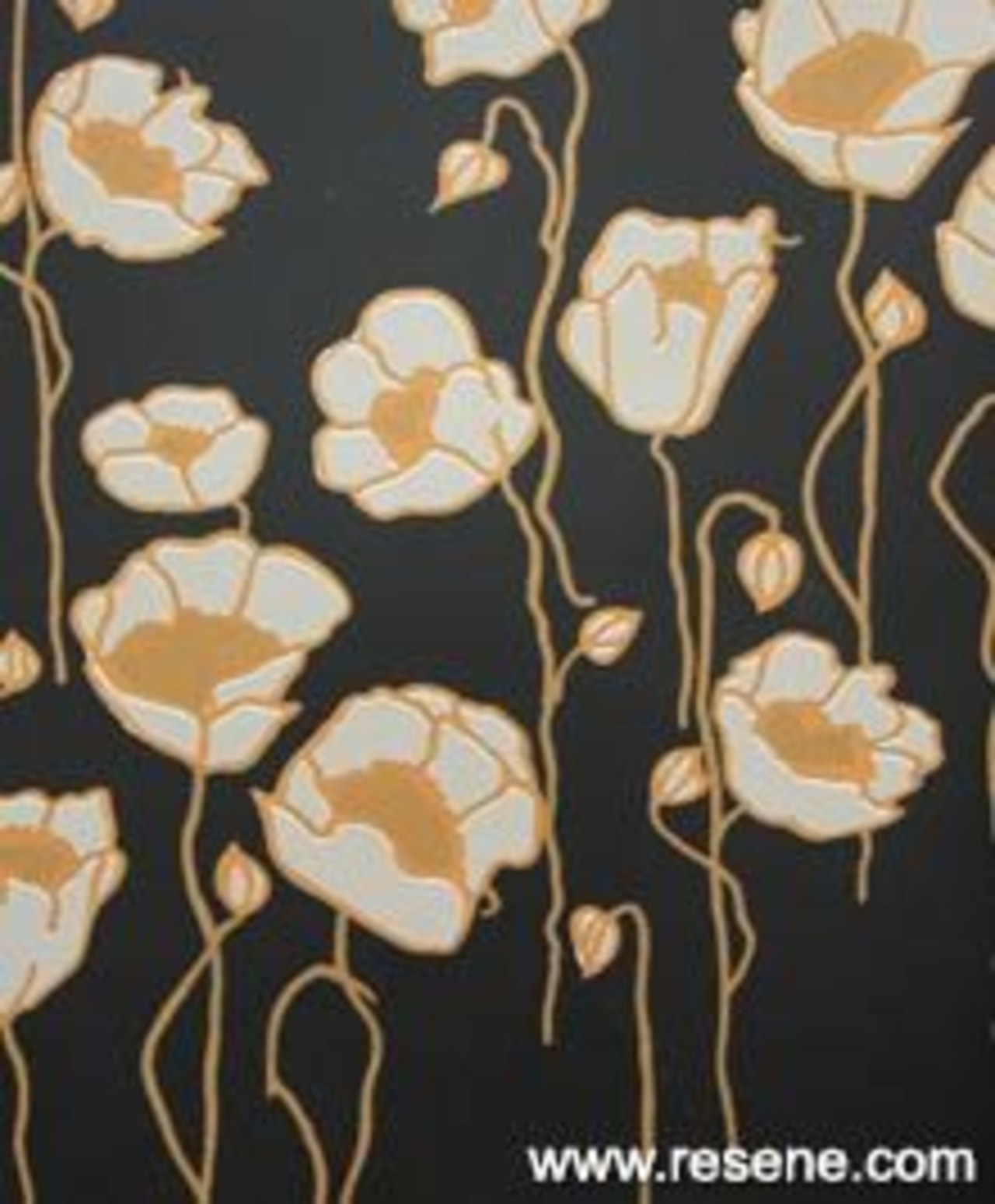 Print: Mason Poppies MPP01 design, flower, pattern, wallpaper, black