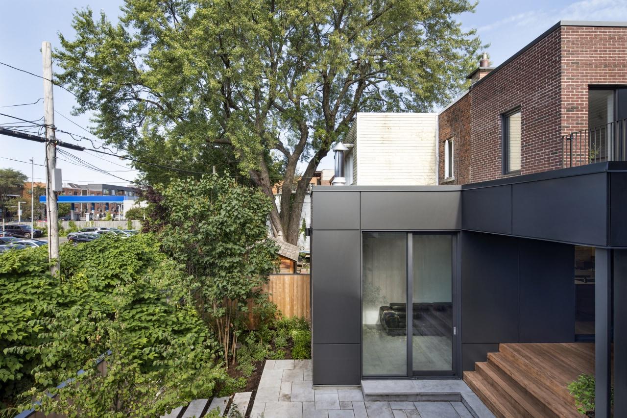 Side view of backyard terrace.