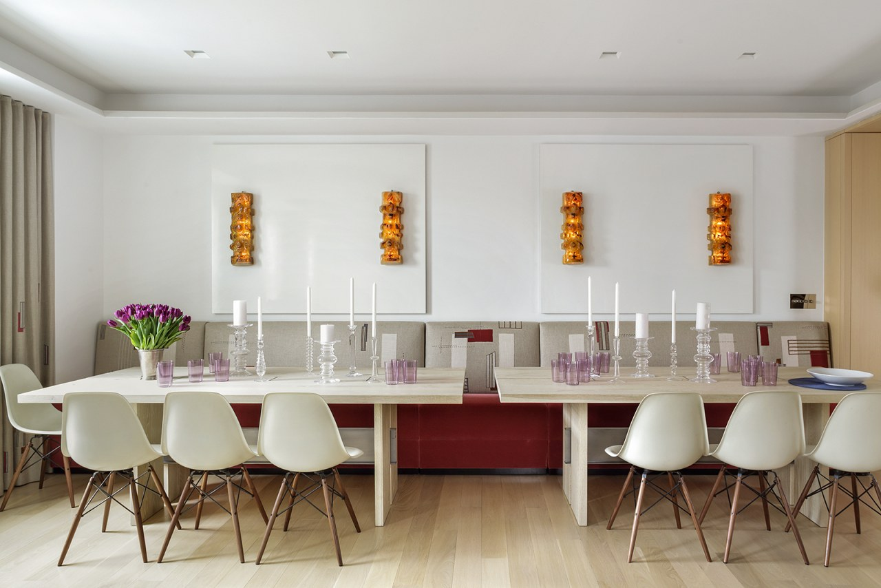The family room is combined with the dining