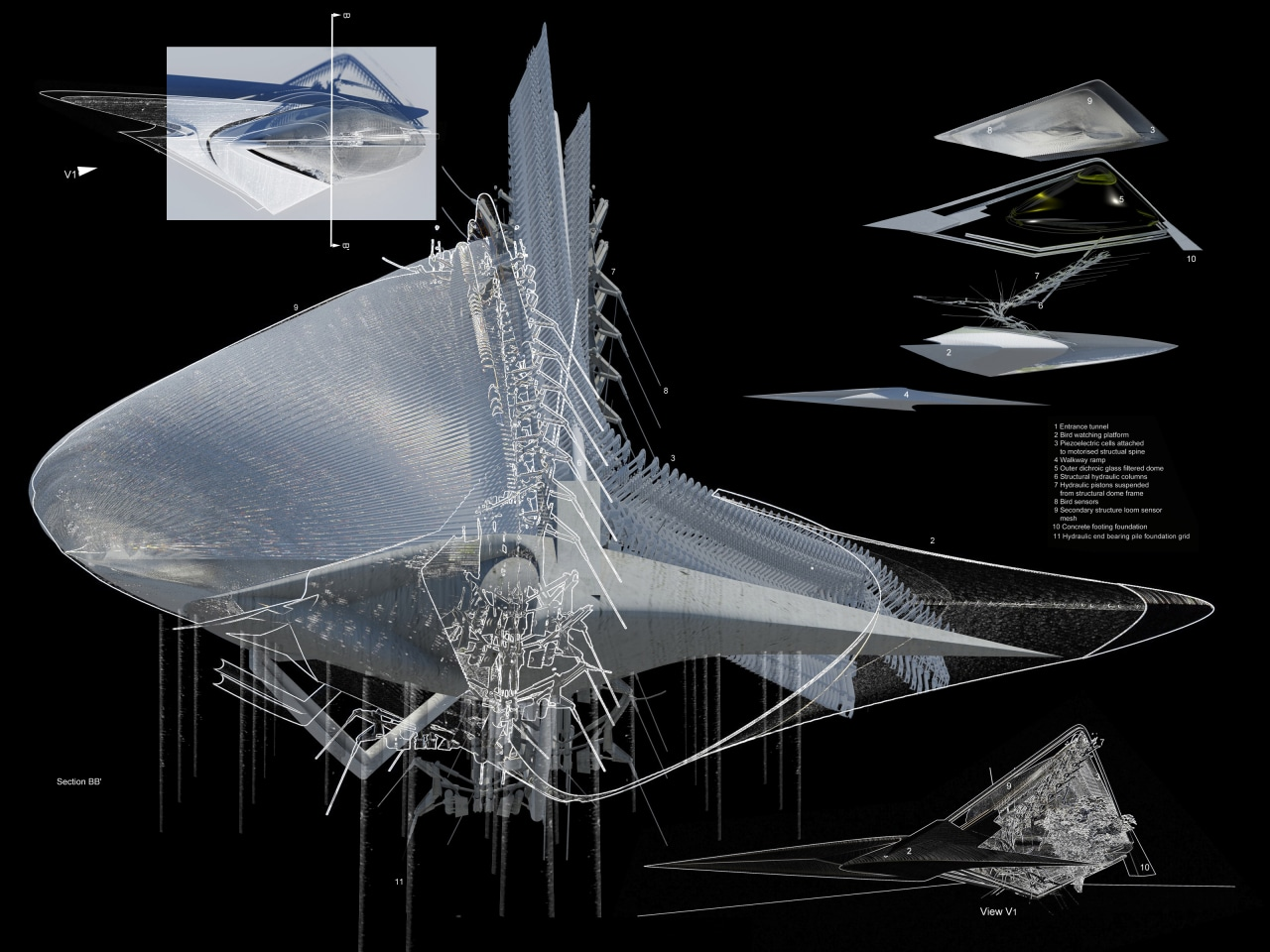 Concept drawings for Piezoelectric Loom Aviary.
