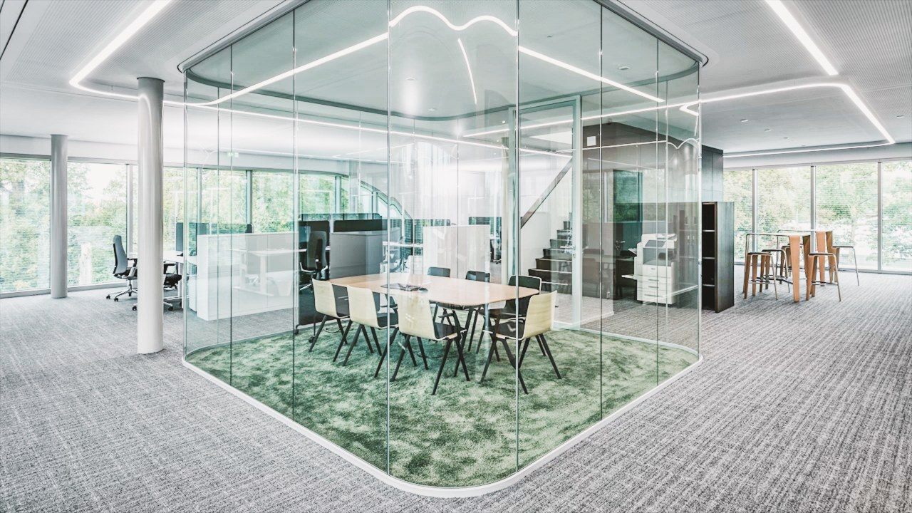 Avoiding interior walls keeps the campus offices looking