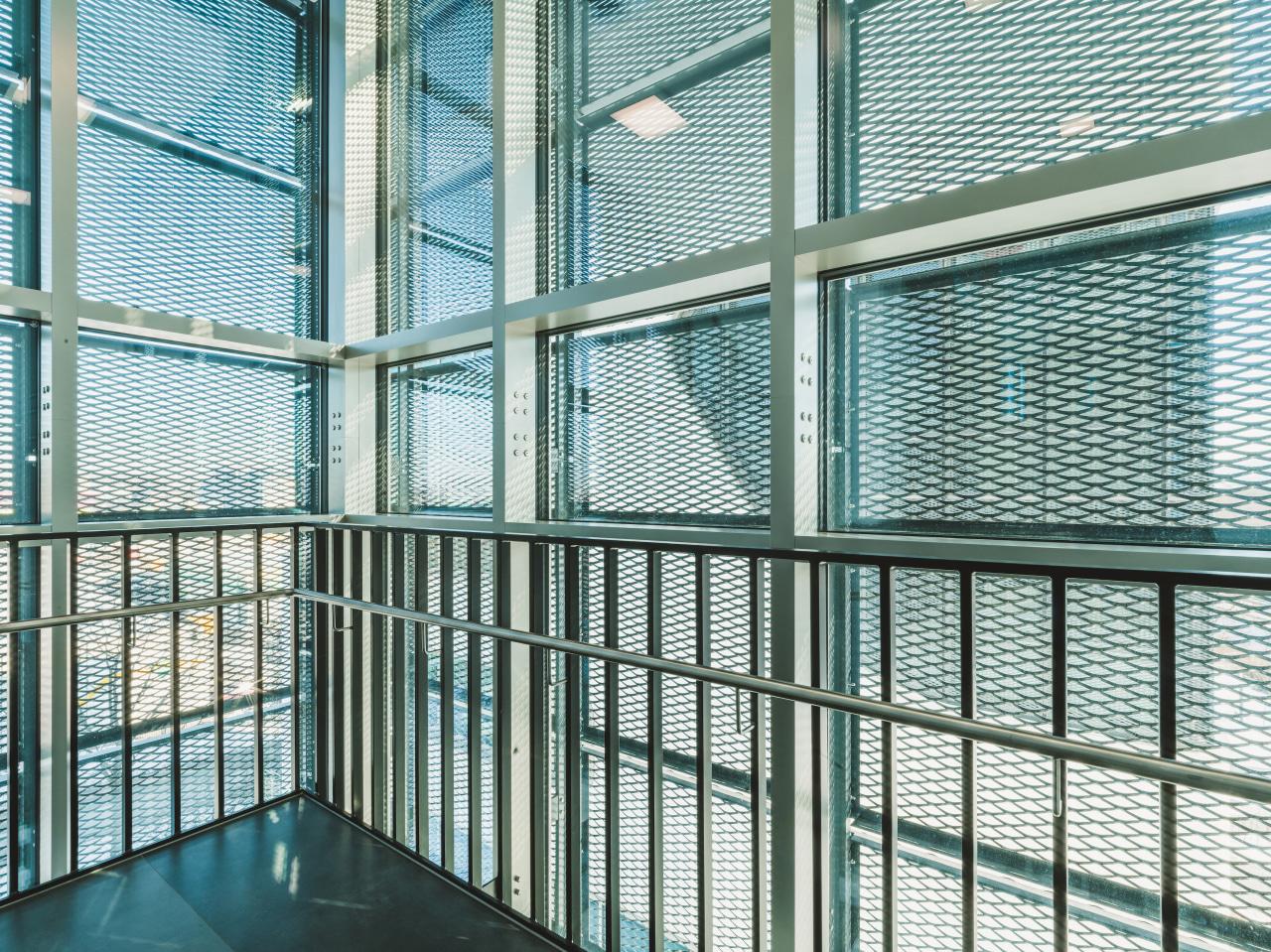 Patterned glass was utilised to avoid bird strike.
