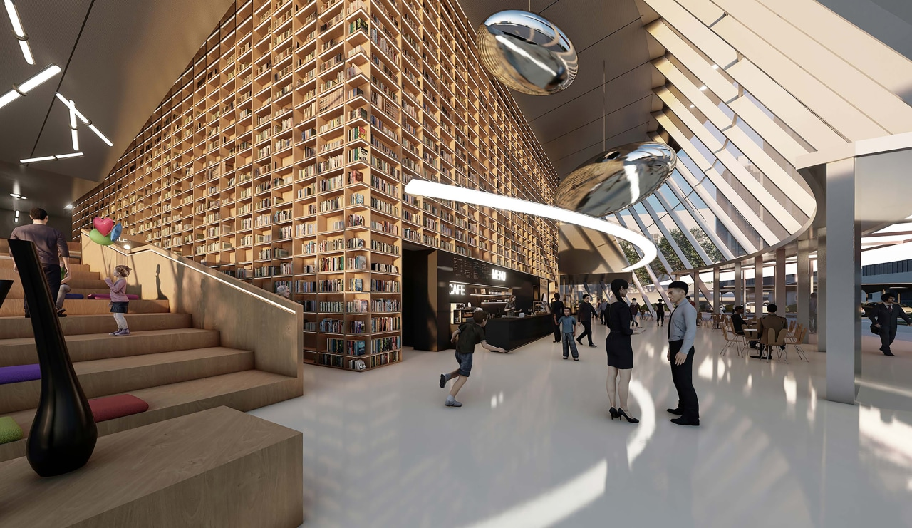 The proposed library's Living Hall.