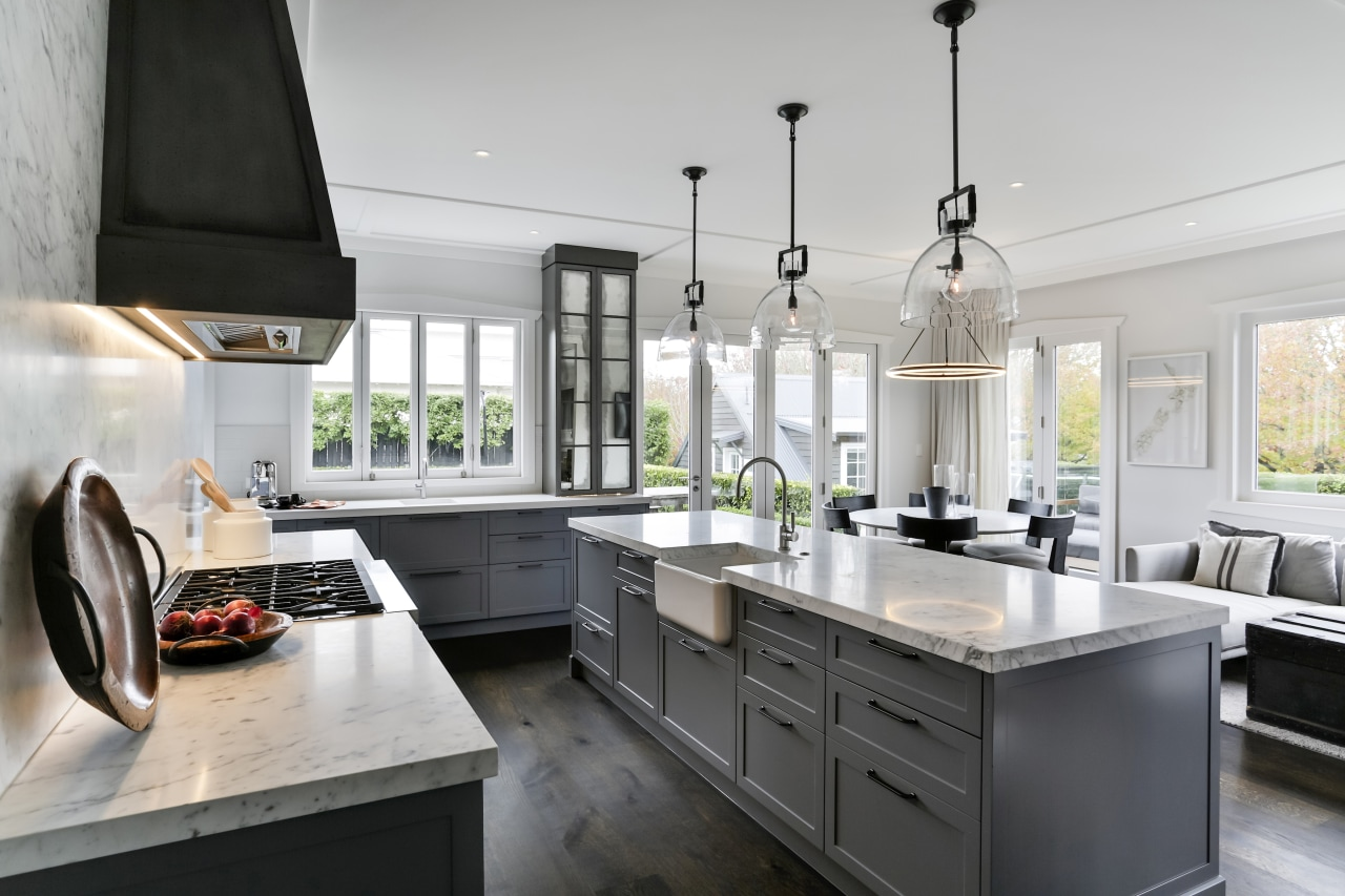 The classic-look cabinetry is matched with a butler's