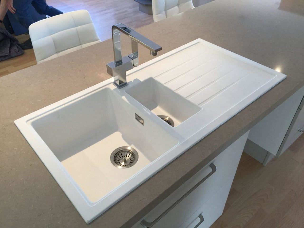 This twin basin sink allows you to add bathroom sink, countertop, plumbing fixture, sink, gray