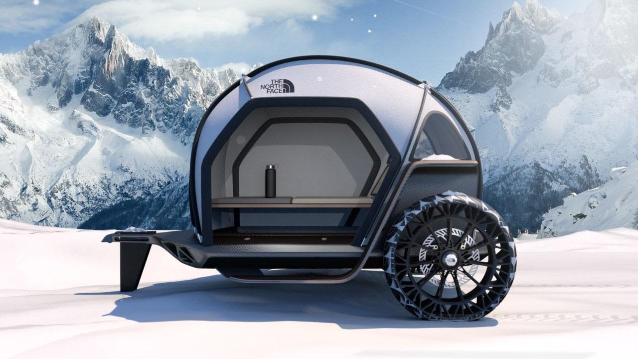 The conceptual camper shows off the technologies of automotive design, automotive tire, automotive wheel system, car, motor vehicle, rim, tire, travel trailer, vehicle, wheel, gray