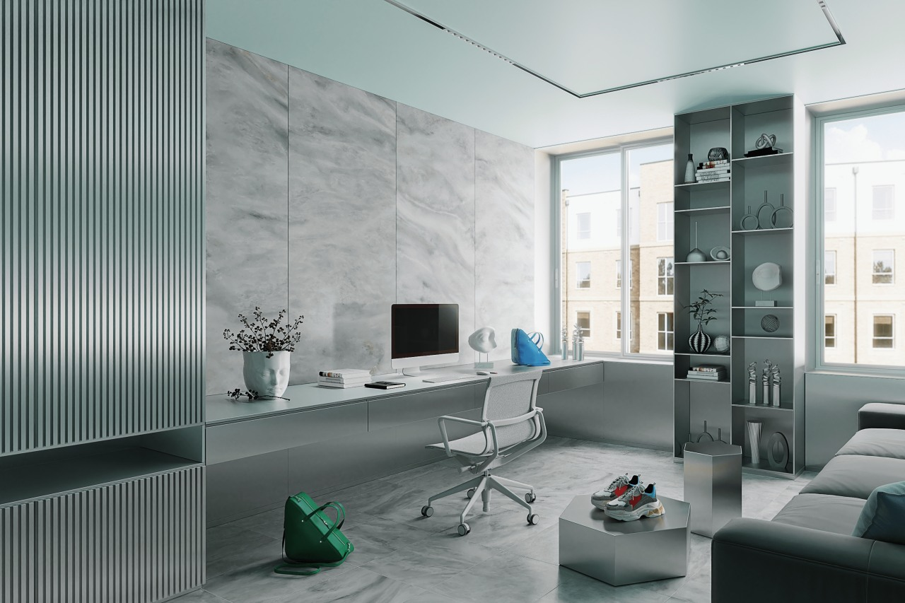 A home office inspired by Balenciaga fashion house.