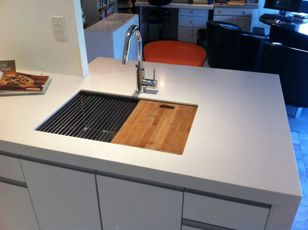 Opting for a sink that supports a chopping countertop, furniture, kitchen, table, gray