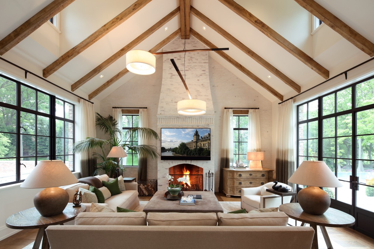 Several reclaimed fireplaces throughout add warmth, and large