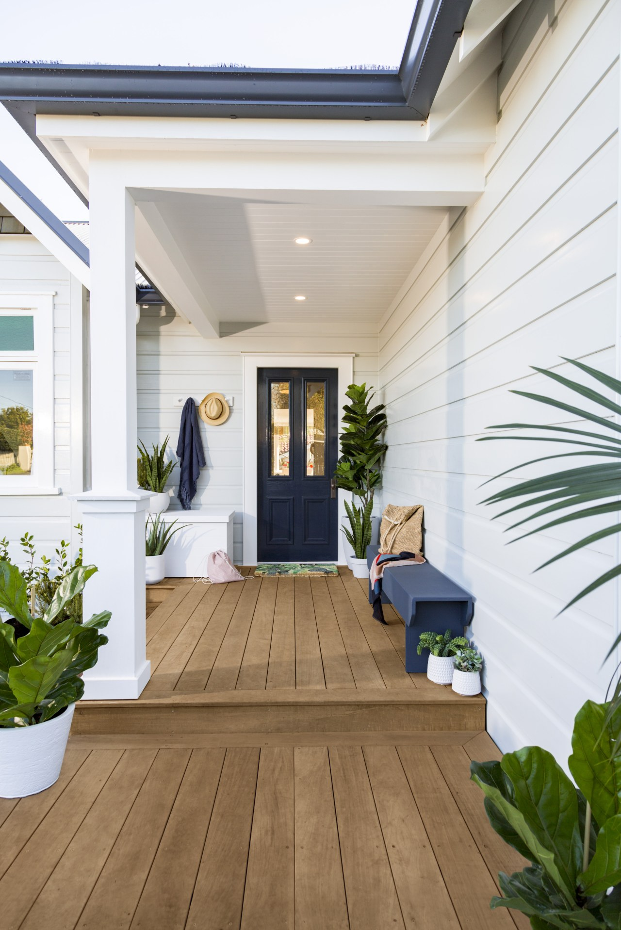 Emily Sommerville Ryanporchblueresene Hf Perglacial Bluecoastpoured Milkslipstreamgrey Sealdriftwoodphoto balcony, daylighting, deck, floor, flooring, hardwood, home, house, interior design, property, real estate, window, wood, wood flooring, white, brown