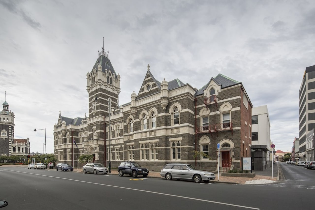 Dunedin Law Courts - building | city | building, city, classical architecture, downtown, facade, house, infrastructure, landmark, listed building, medieval architecture, metropolis, metropolitan area, neighbourhood, plaza, residential area, sky, street, town, urban area, white, gray