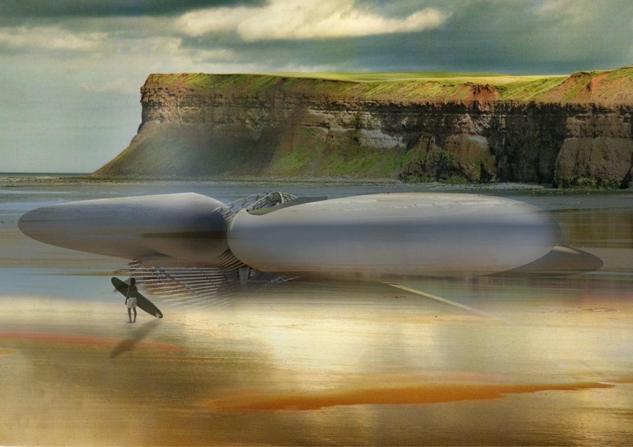 Harmonic Turbine Tidal Hotel reflection, sea, sky, water, brown, gray