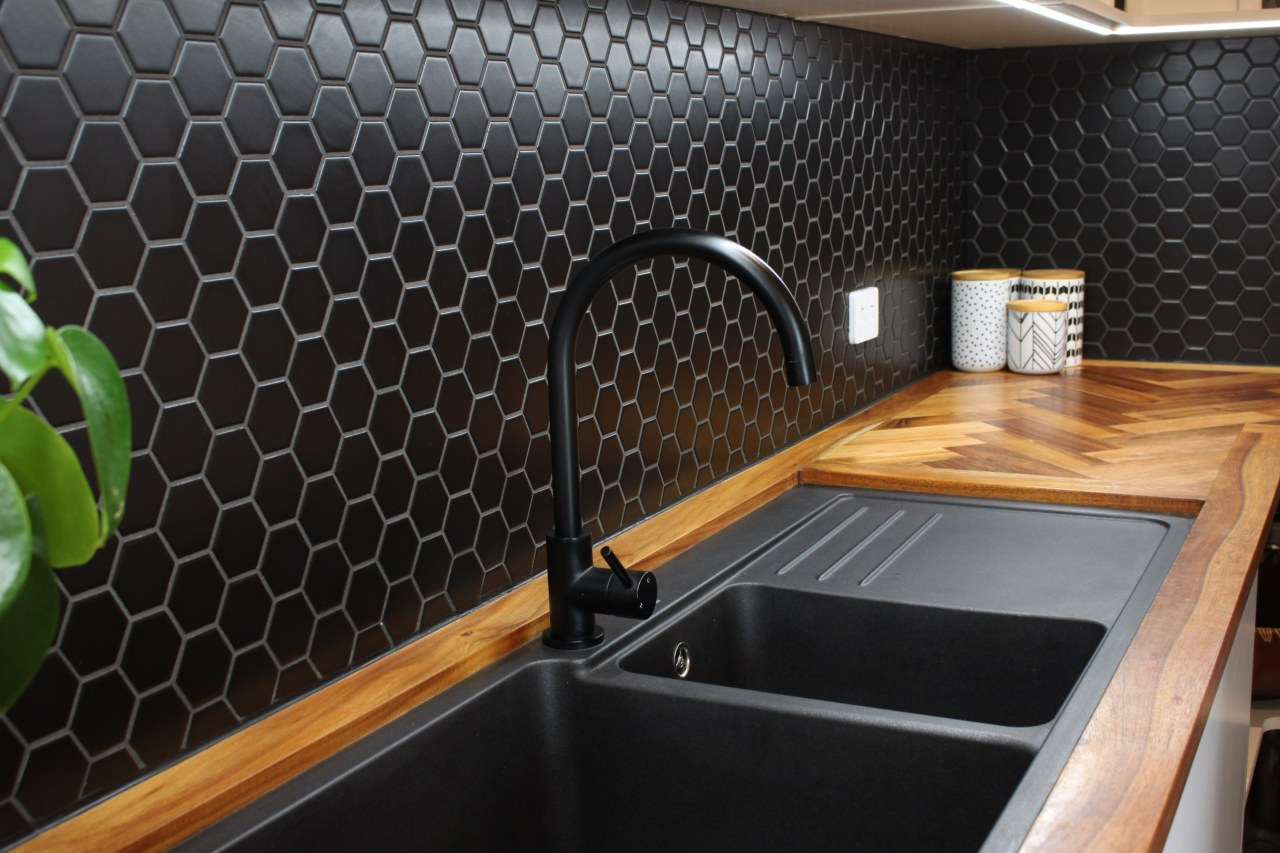 Mosaix Hexagonal Black Matt porcelain tiles were chosen