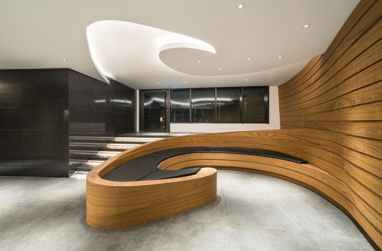 Efficient, interactive and healthy office spaces are planned architecture, building, ceiling, design, floor, flooring, furniture, interior design, plywood, room, stairs, wood, gray