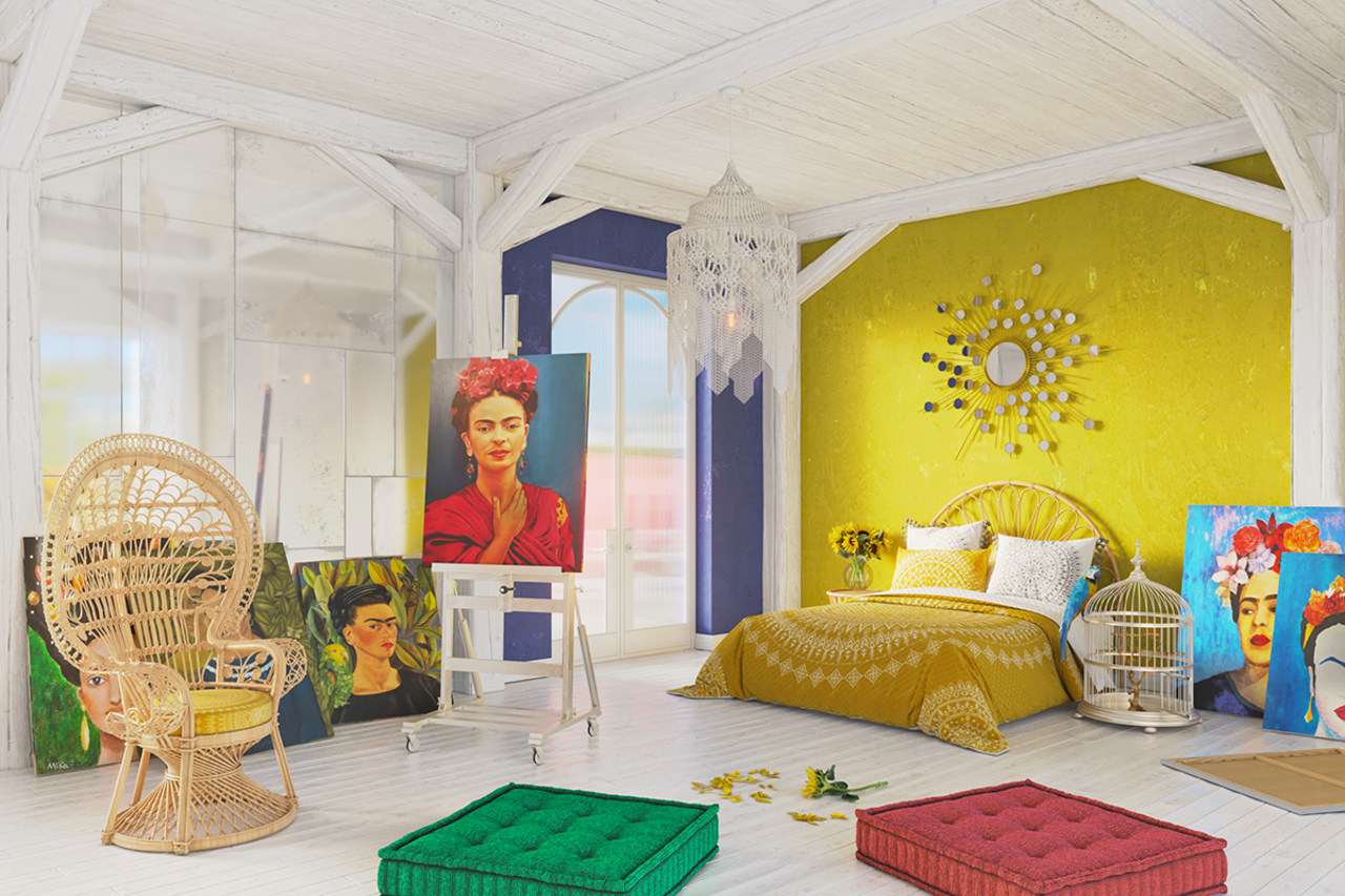Frida Carlo's bedroom as it might look today.