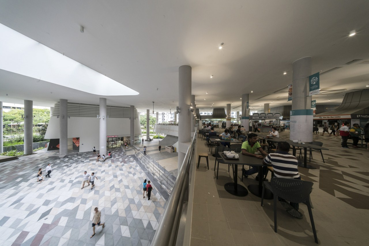 Kampung Admiralty architecture, interior design, lobby, mixed use, gray