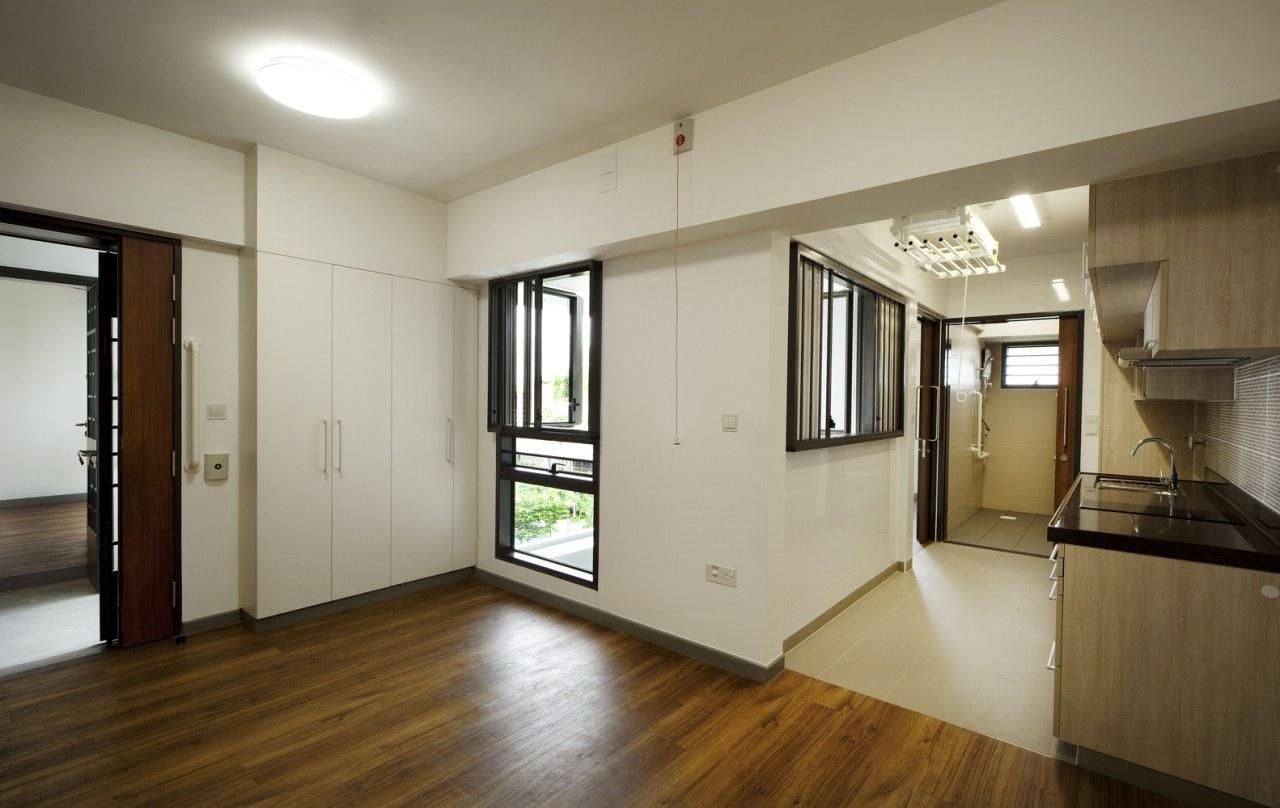 Kampung Admiralty floor, flooring, hardwood, house, interior design, property, real estate, room, wood flooring, gray, brown