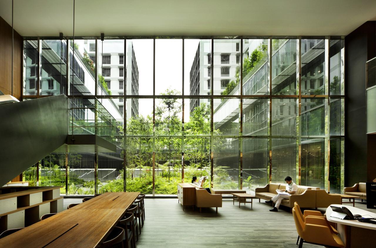 Kampung Admiralty apartment, architecture, condominium, daylighting, house, interior design, lobby, mixed use, window, brown, green