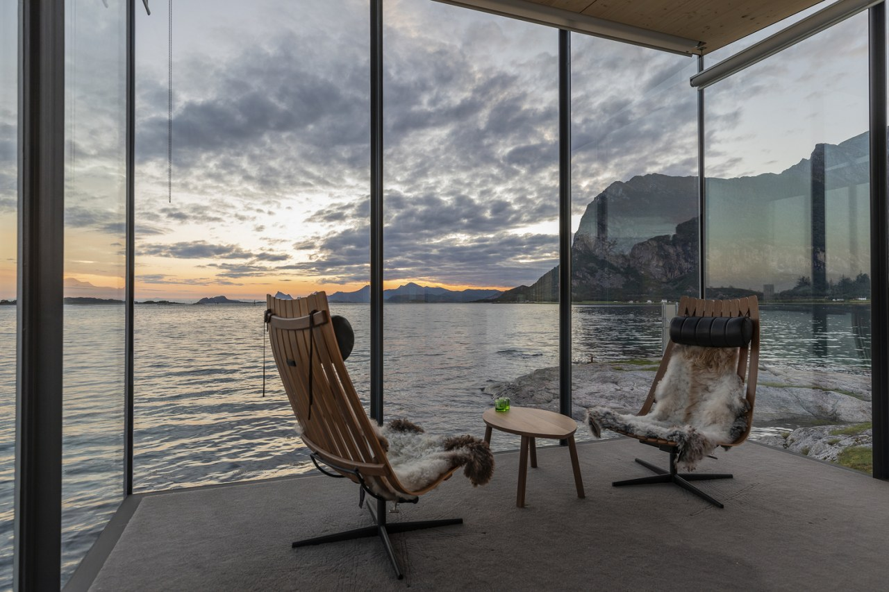 This shelter design for an extension to a chair, floor, furniture, interior design, nature, room, sky, window, gray, black