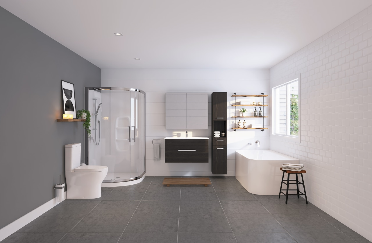 Choose from a selection of shapes, sizes and bathroom, floor, flooring, home, interior design, property, real estate, room, gray