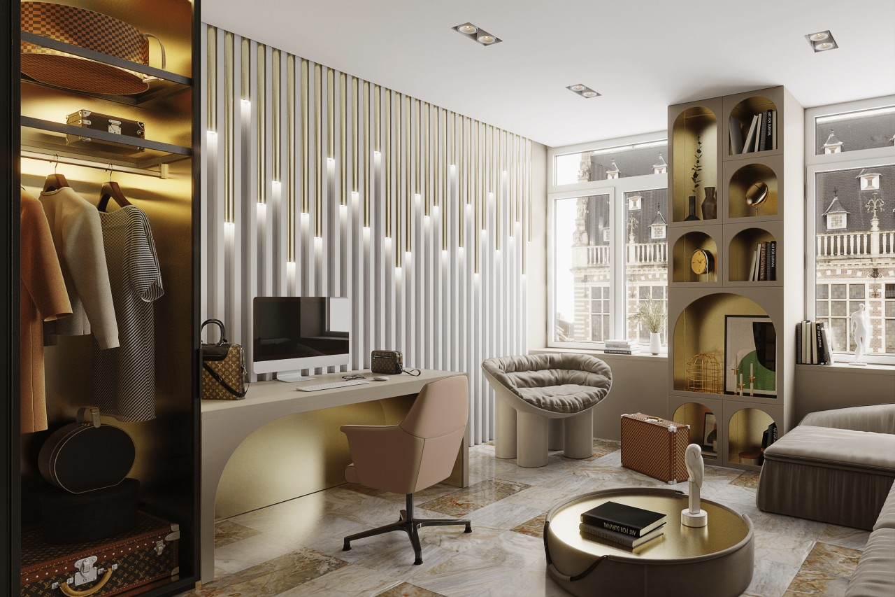 A home office inspired by Louis Vuitton fashion