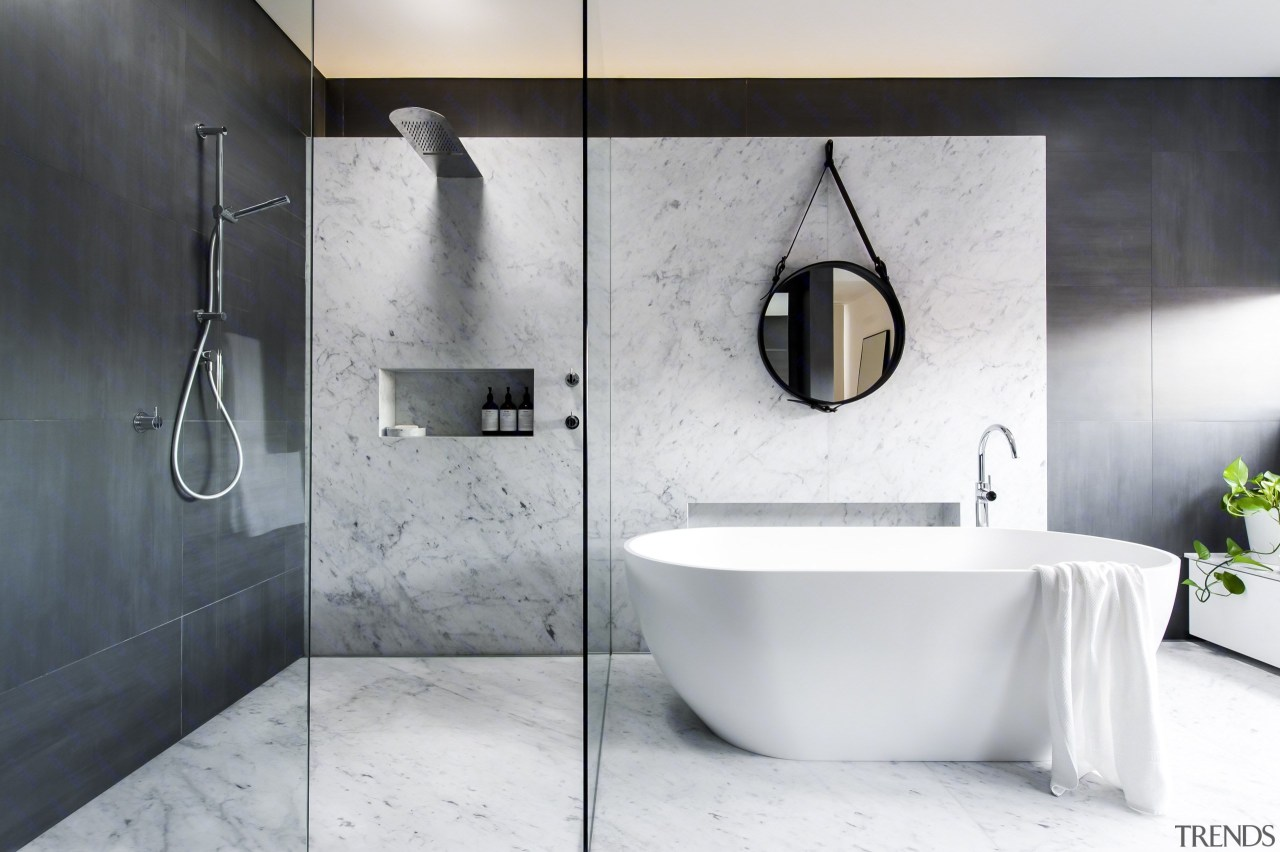See more of this bathroom hereDesigned by bathroom, bidet, ceramic, floor, interior design, plumbing fixture, room, tap, tile, white, gray