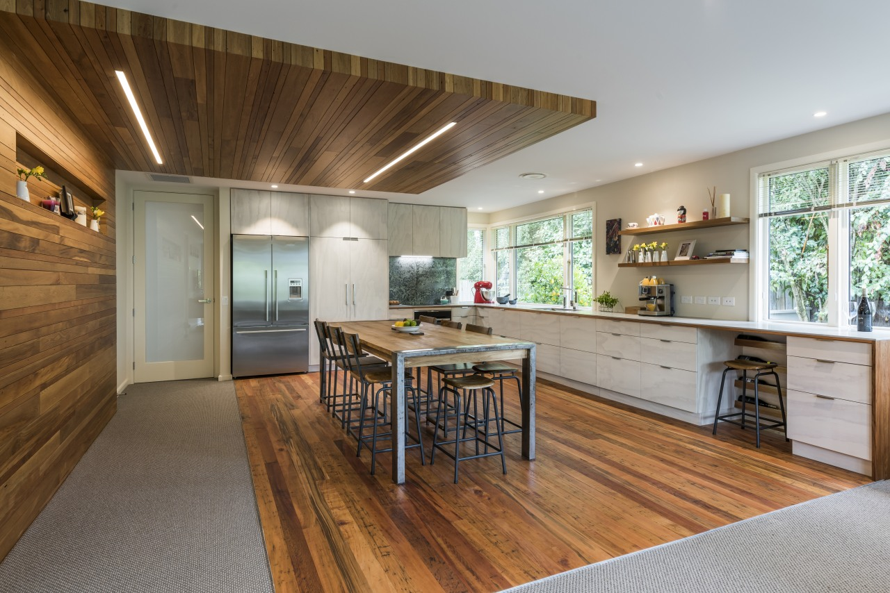 This major renovation places a strong emphasis on floor, flooring, hardwood, home, interior design, kitchen, wood, wood flooring, Higham Architecture, Hardie & Thomson