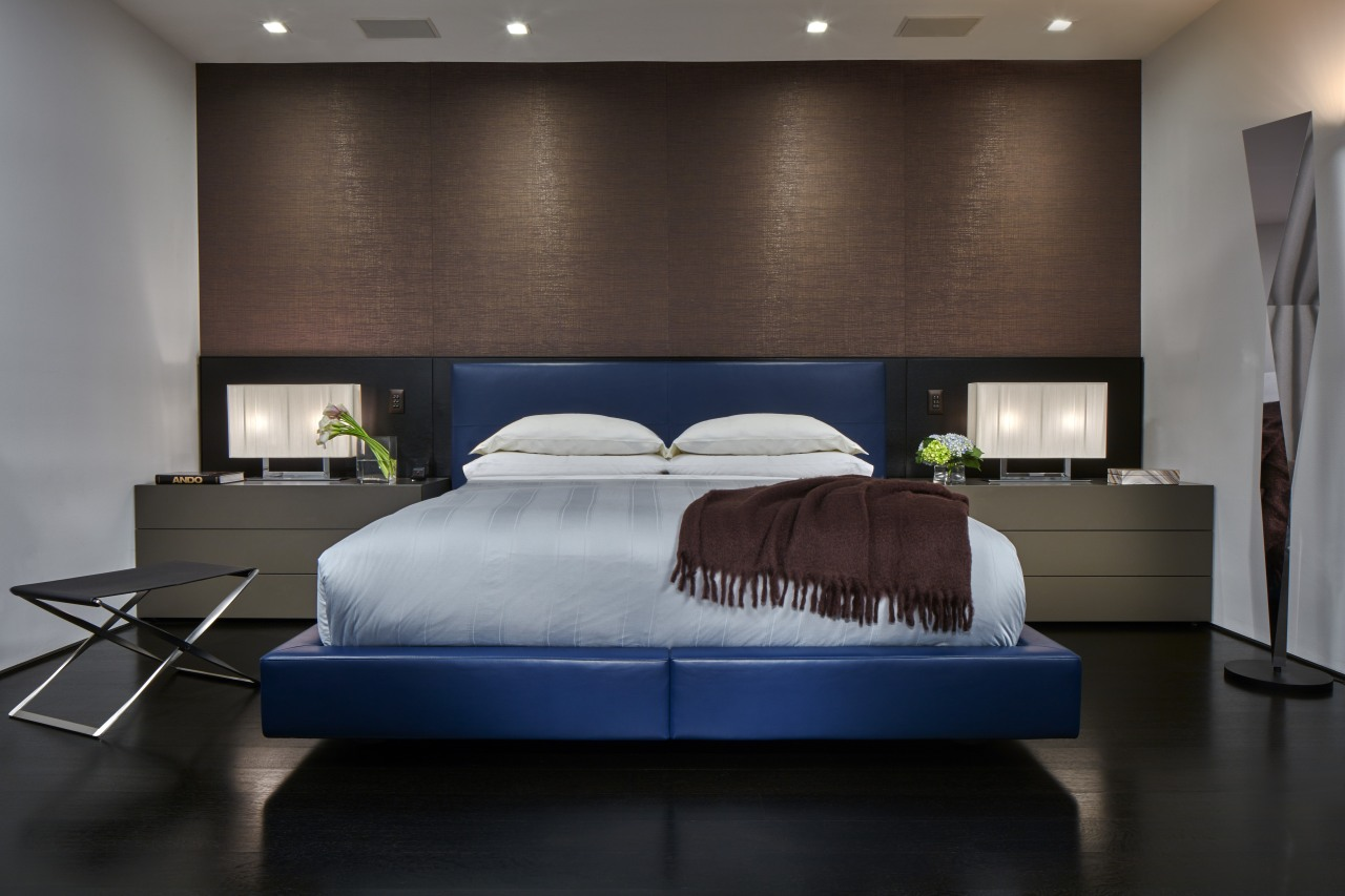 Existing stained oak floors in this master bedroom bed, bed frame, bedroom, ceiling, floor, furniture, interior design, lighting, mattress, room, suite, wall, black, gray