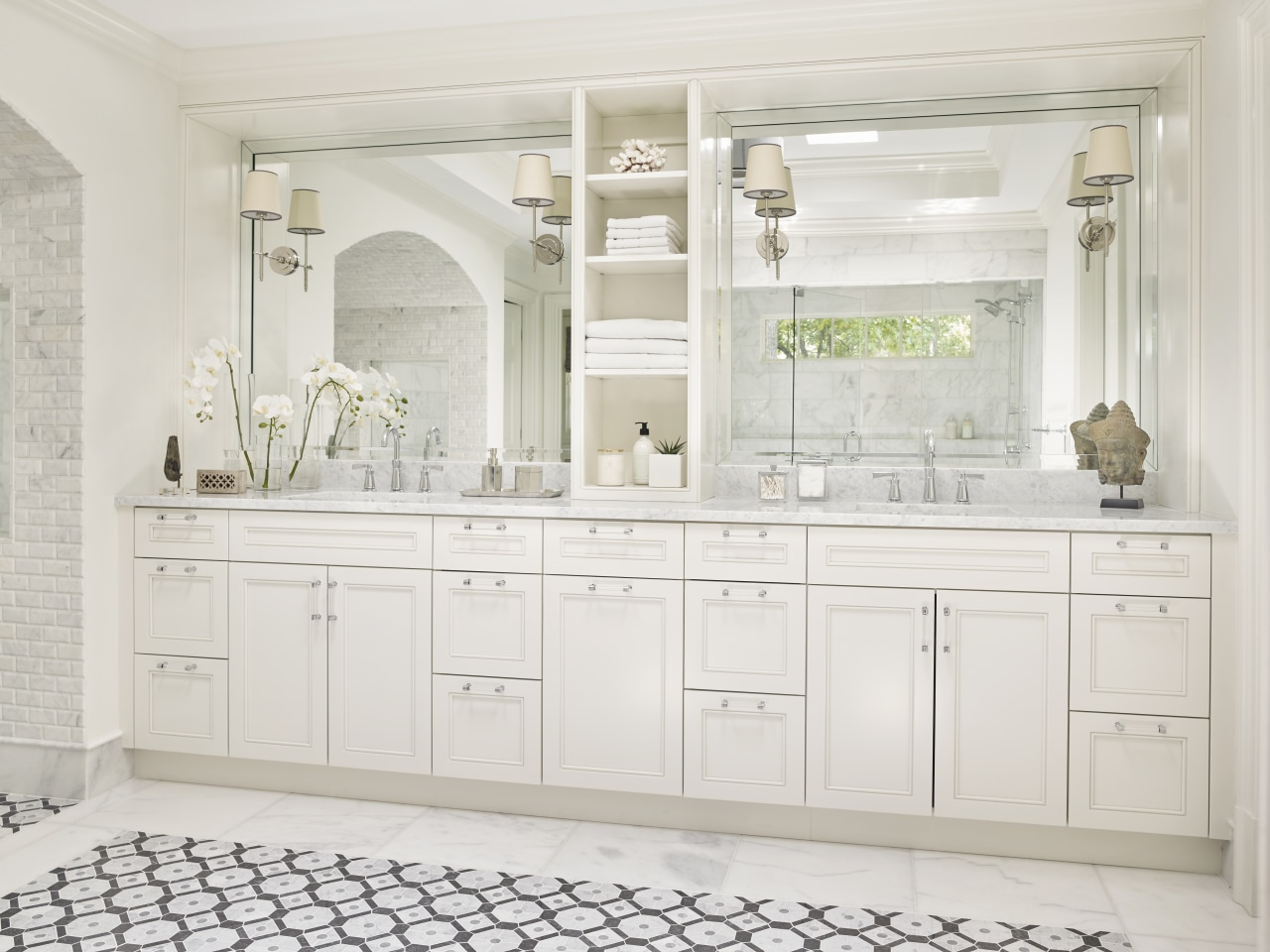 Cabinetry in this large vanity is finished in bathroom, bathroom accessory, bathroom cabinet, cabinetry, furniture, interior design, basin, tap, white, traditional, Mark Williams Design